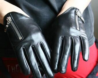 Genuine Leather Lambskin Sheepskin Scopped Zipper Punk Rocker Biker Dancer Wrist Gloves Lined