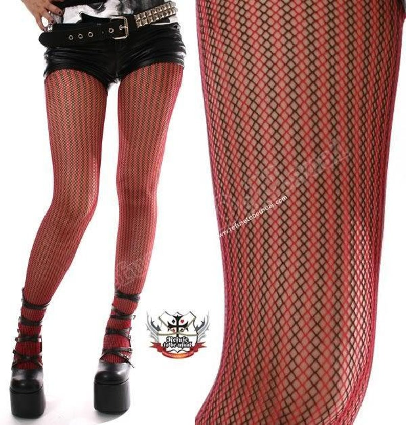 Détails RTBU sur Punk résille collant à rayures noir et rouge  5dbbafac041