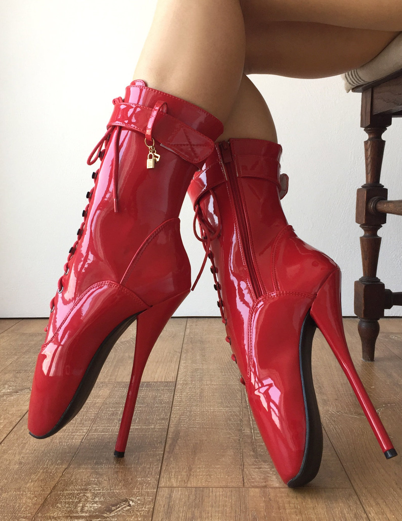 rtbu ballet calf hi fetish boot burlesque dominatrix red patent