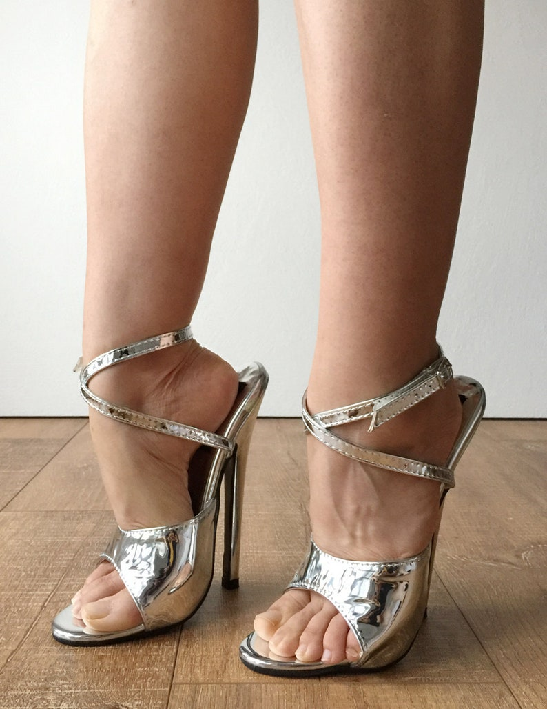 Silver Slipper Strap Sandals Wrap Metallic 18cm Stiletto Rtbu Salma Heel PkOnX0N8w