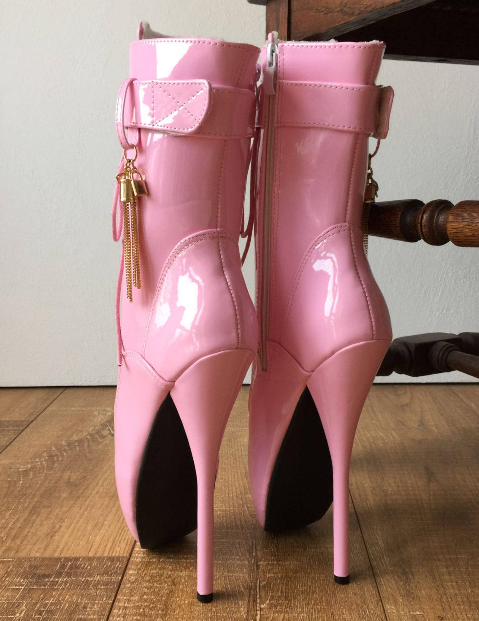 18cm fetish ballet calf hi boot gold metallic tassel charm burlesque patent pink