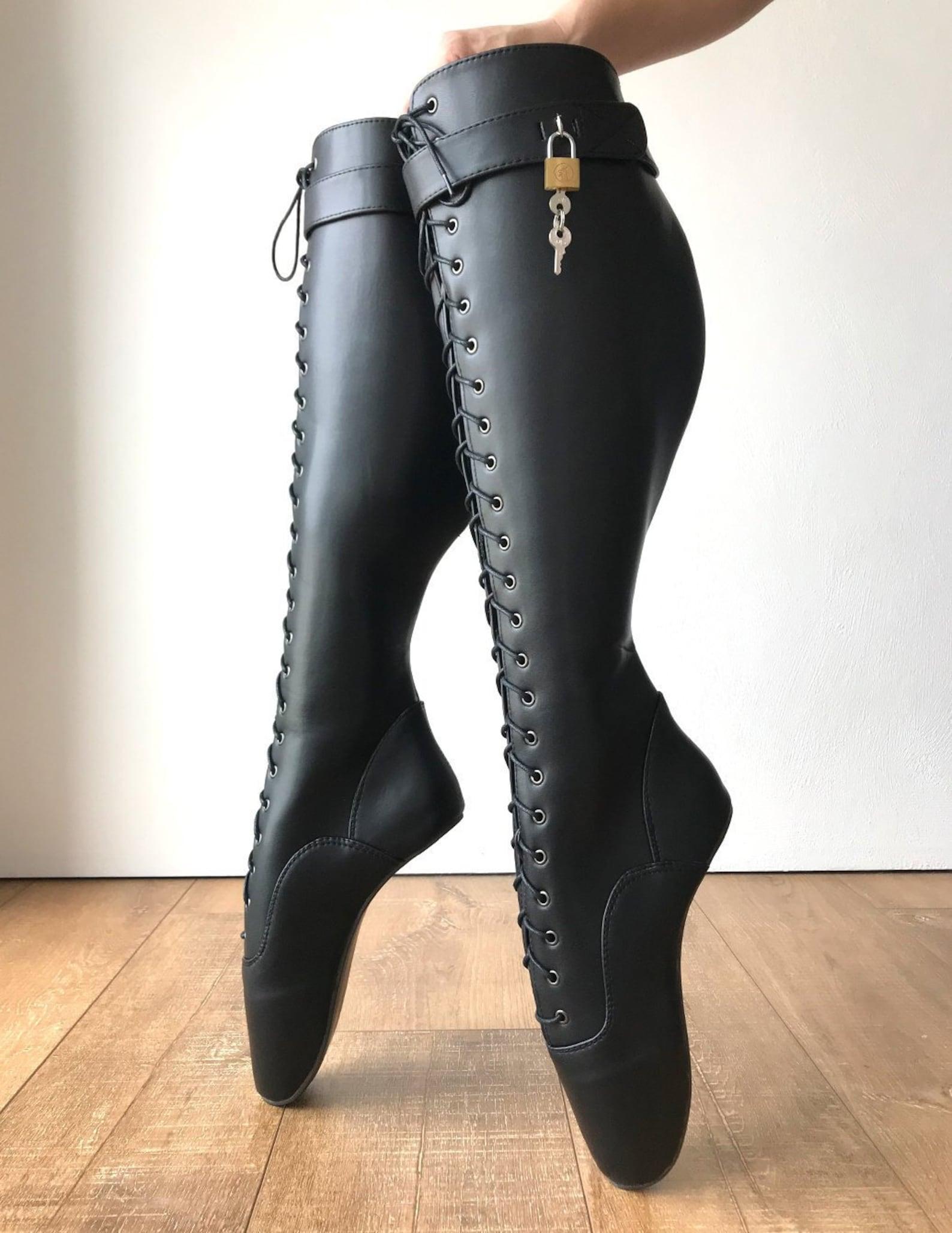 rtbu pfeiffer heelless lace up knee hi ballet strap padlock pain boots black matte