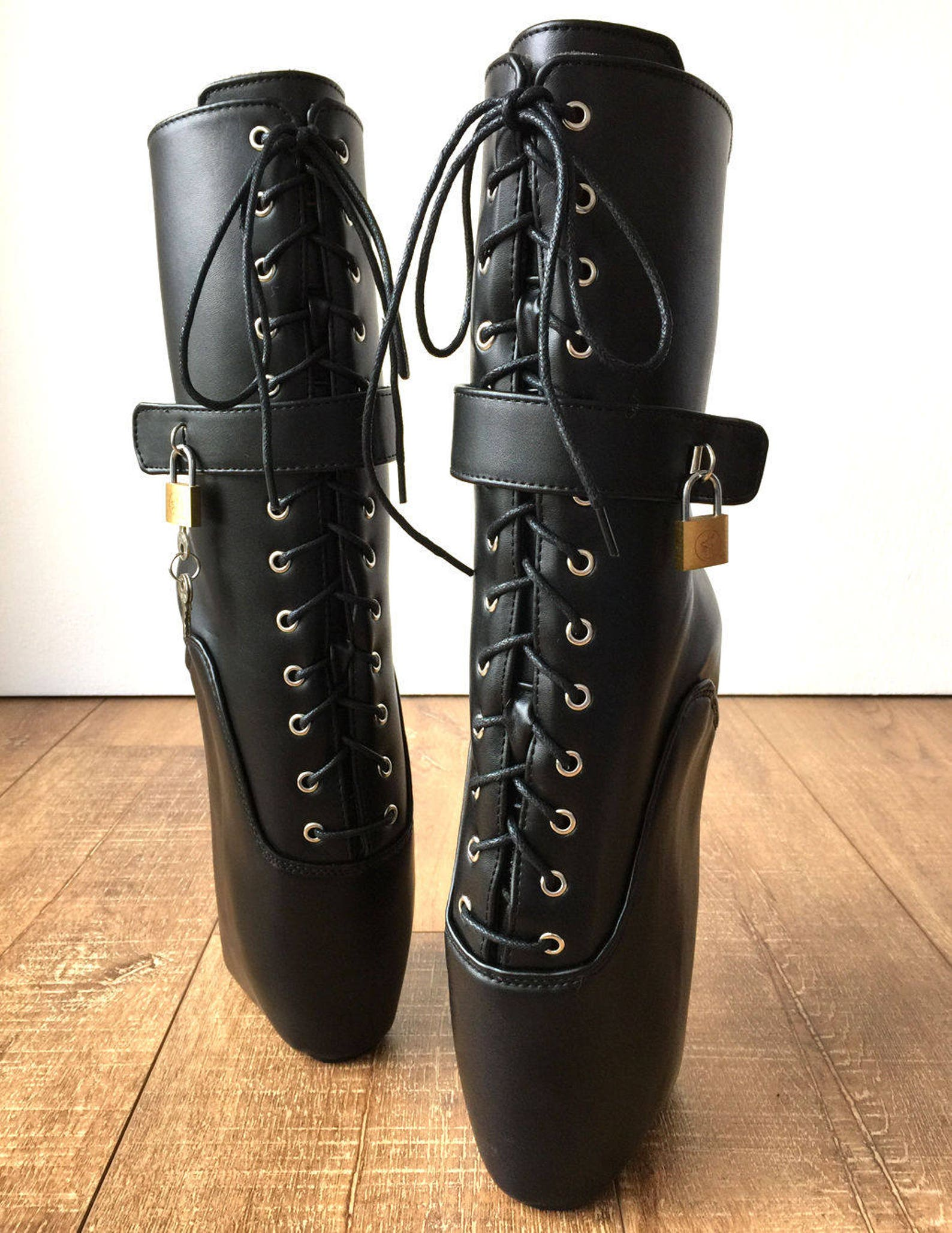 18cm locky beginner lockable ballet wedge boots hoof sole heelless fetish pinup