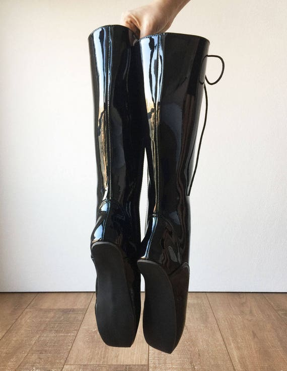 ab90ab6d363 POINTE (w  Zip) Heelless Lace Up Knee High Ballet Fetish Pain Boots Black  Patent