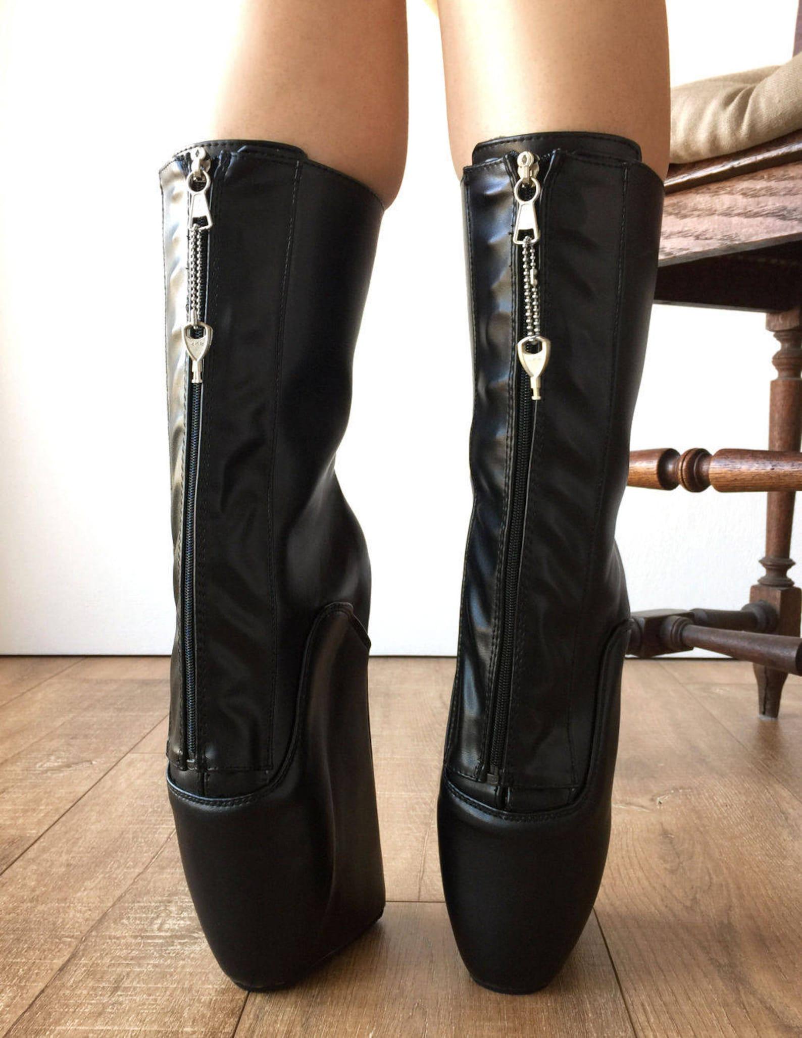 keep calf ballet wedge boots ykk zip lockable hoof heelless fetish pinup rtbu