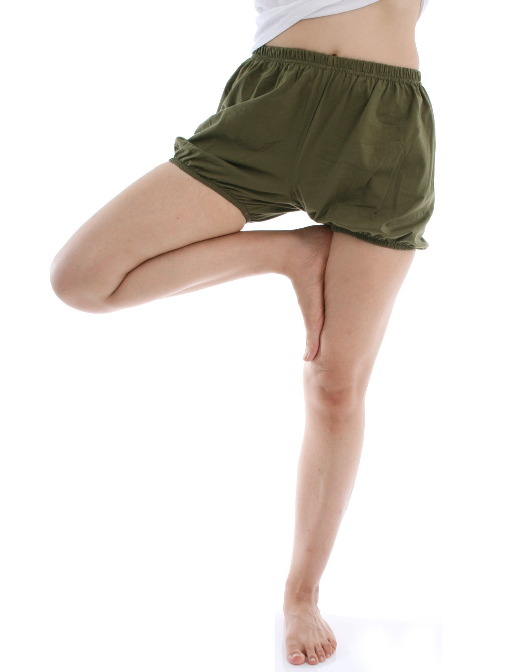 RTBU men women Iyengar Yoga Dance Ballet Practice Pilates Cotton Bloomer  Shorts Military Green