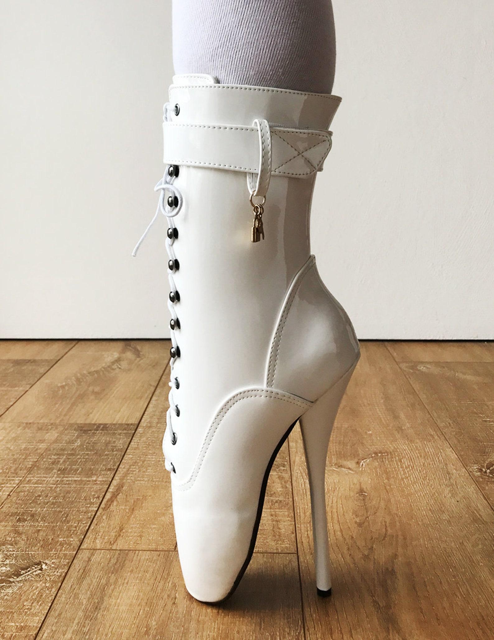 rtbu ballet stiletto hi heel pointe charm burlesque white patent