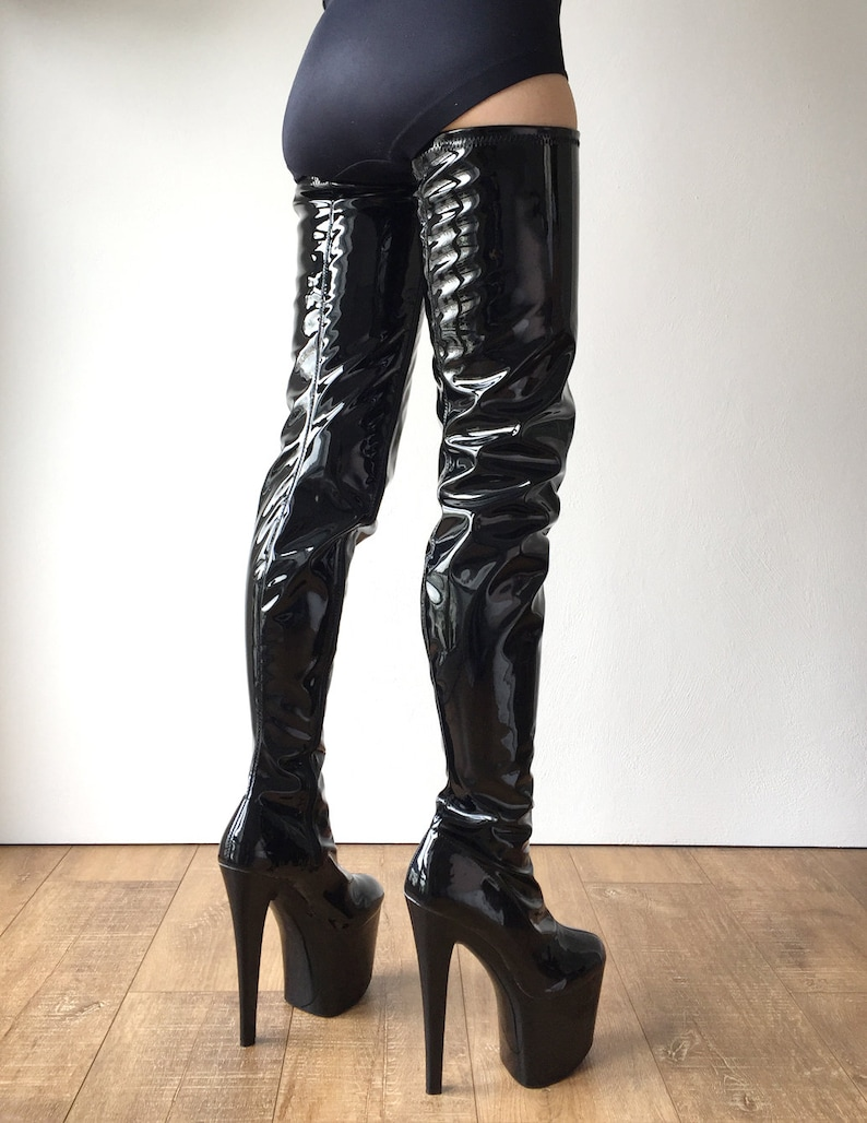d07936a0d9da RTBU ALTO 20cm Platform Heel 80cm Crotch Boots Wet Look Patent Black