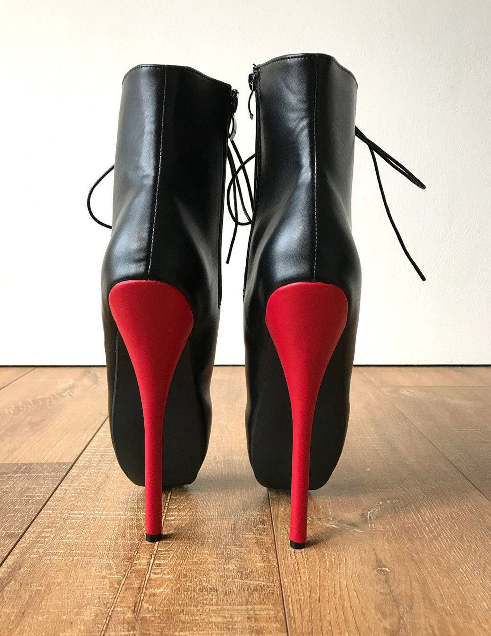 rtbu simona extreme fetish goth ballet laceup pvc boots black matte