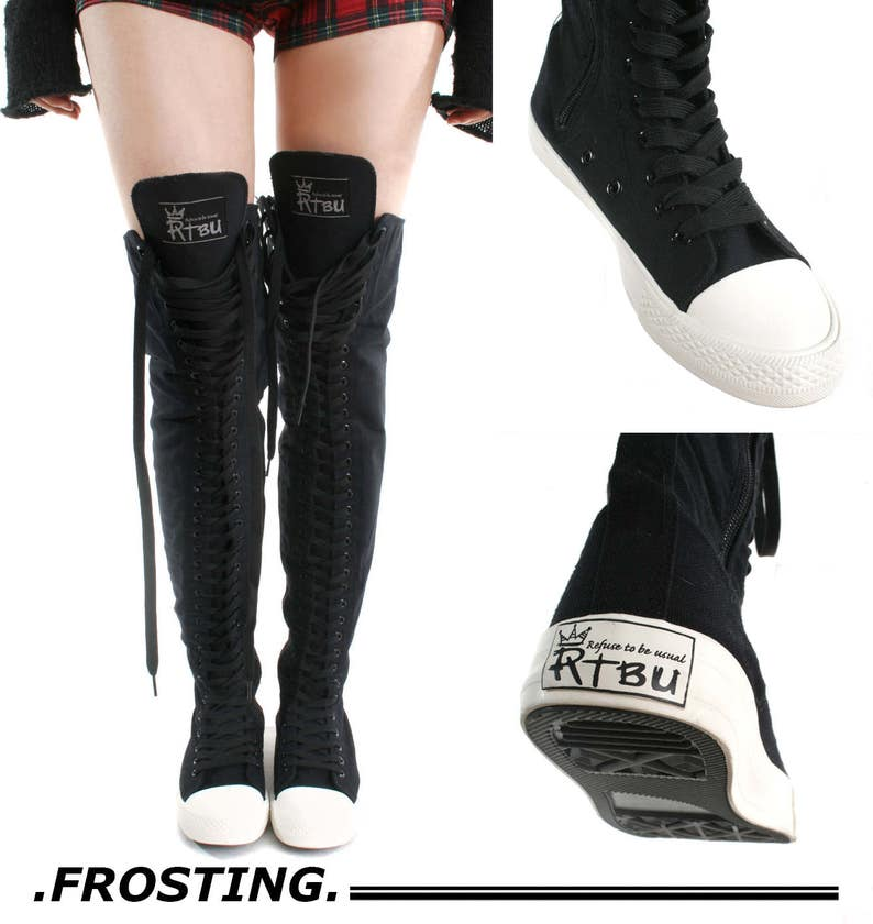 433bc9af88a5 RTBU Ivory Frosting 35 Hole Punk Goth Thigh Hi Black Canvas