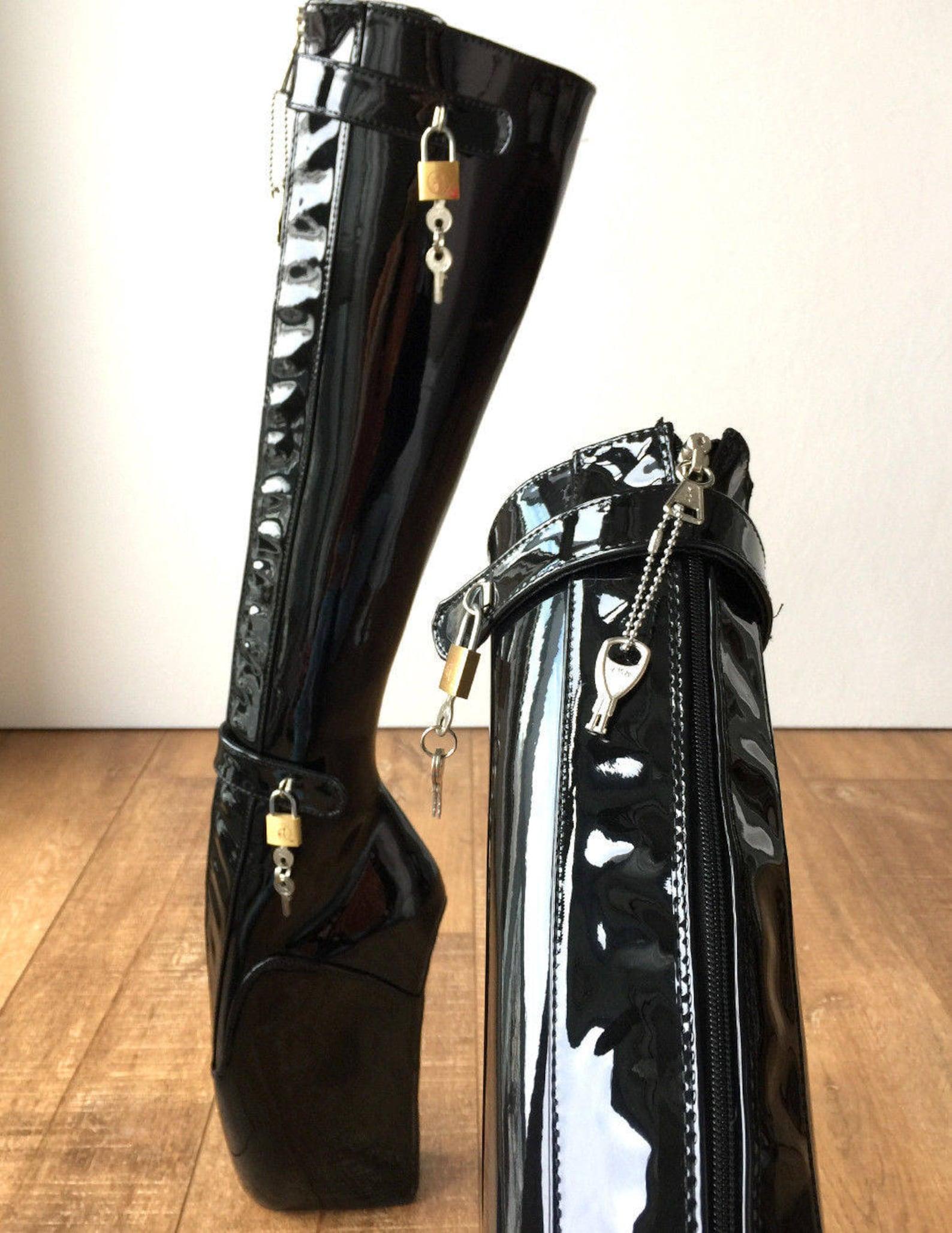 rtbu 6 keys locking zip beginner ballet wedge boot fetish dominatrix black