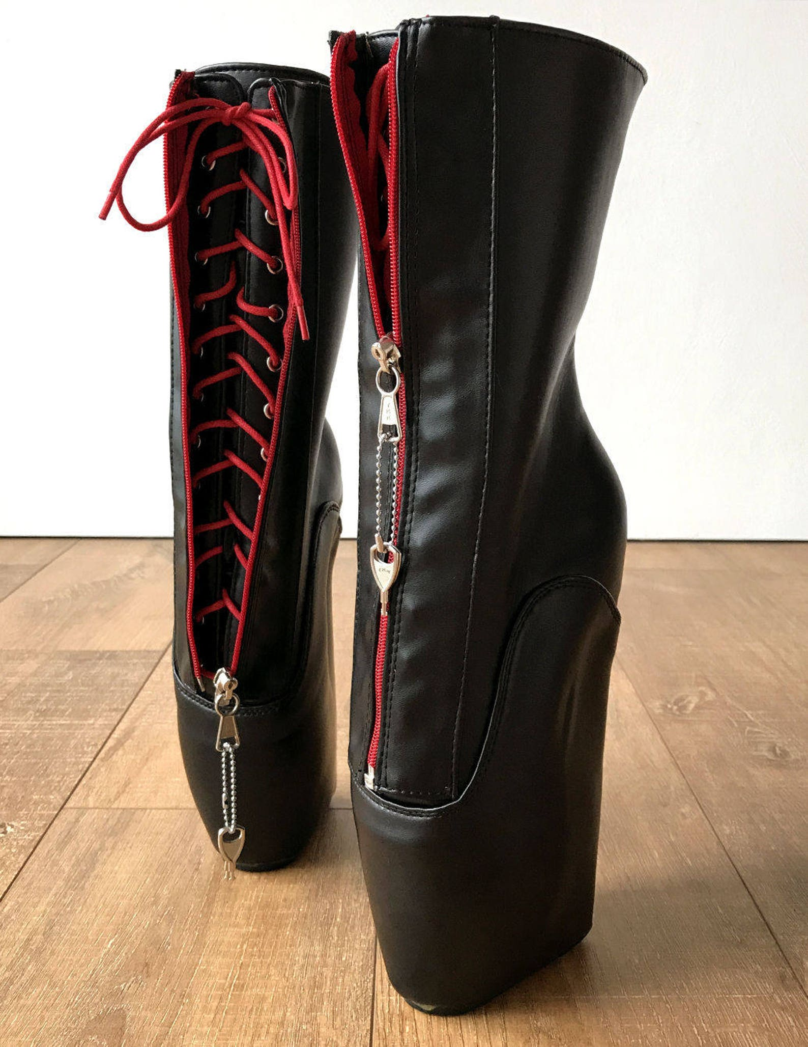 rtbu taboo red lockable zip ballet hidden red lace wedge fetish submissive boot