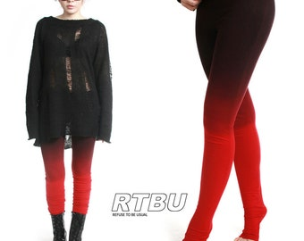 Mega Long Slouch Gathered Ruched Punk Tie Dip Dye Smoke Red Black Ombre Legging Tights