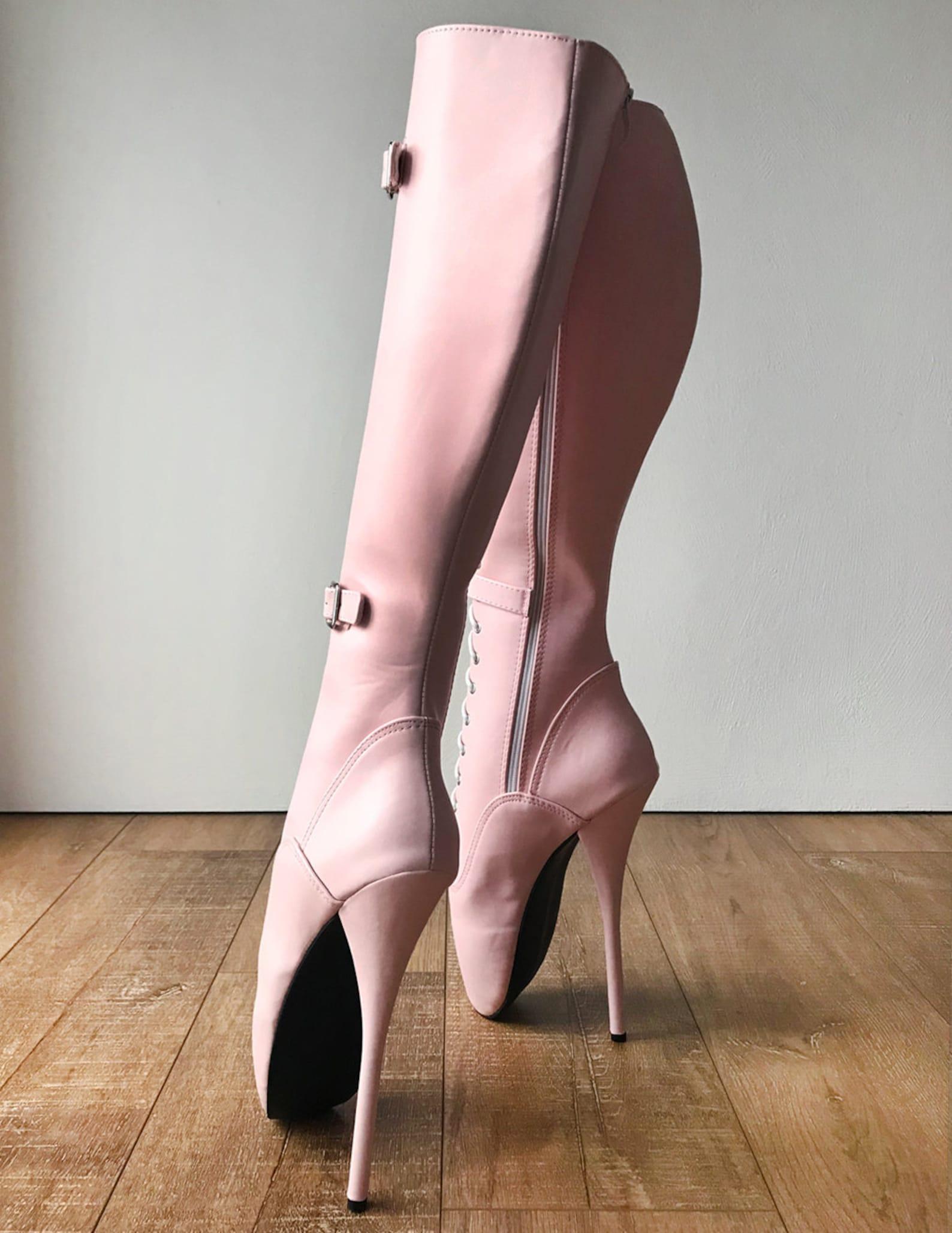 rtbu jessica lace up strap knee hi ballet stiletto fetish pain boots piggy pink matte