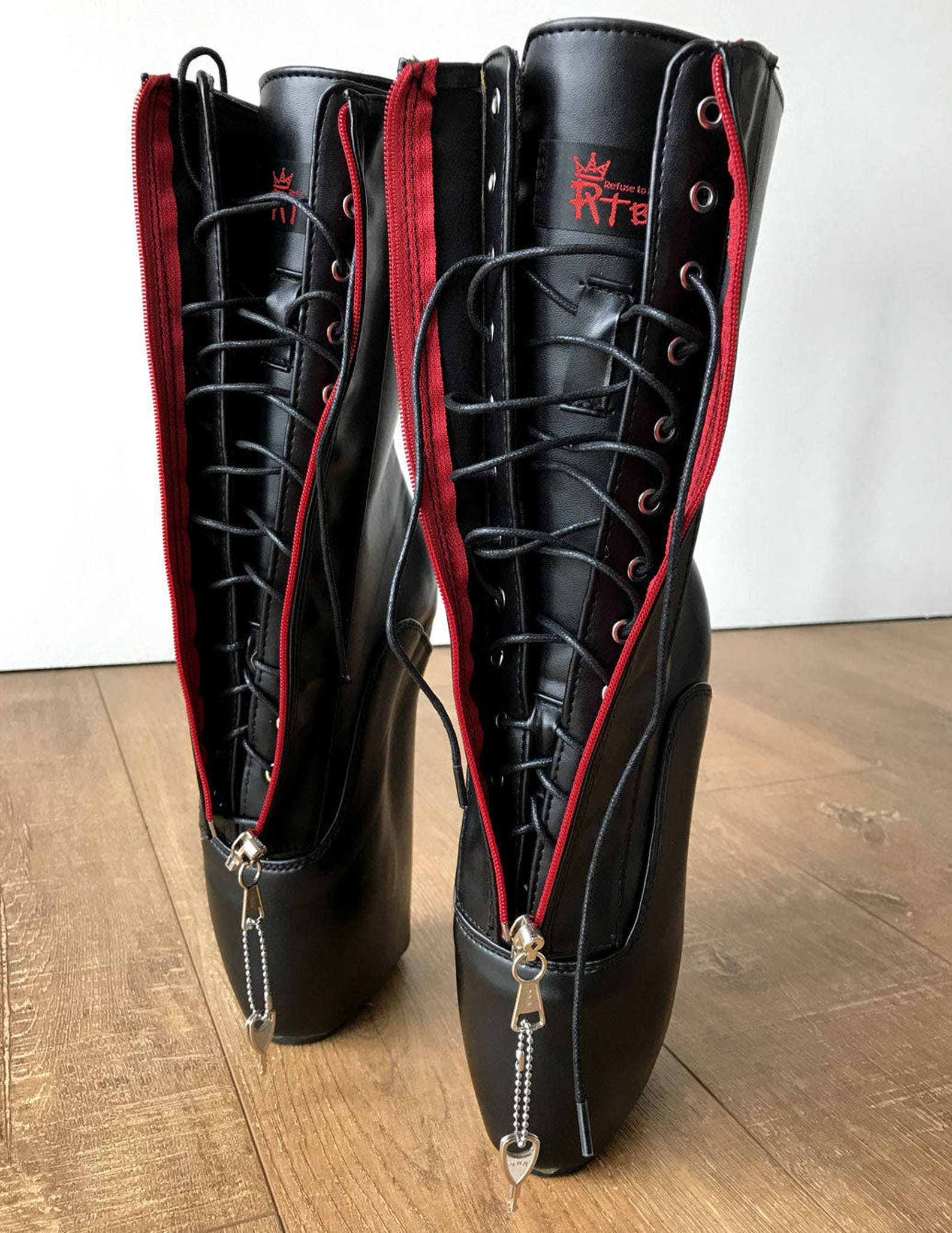 rtbu taboo red lockable zip ballet wedge hidden lace fetish hoof submissive boot