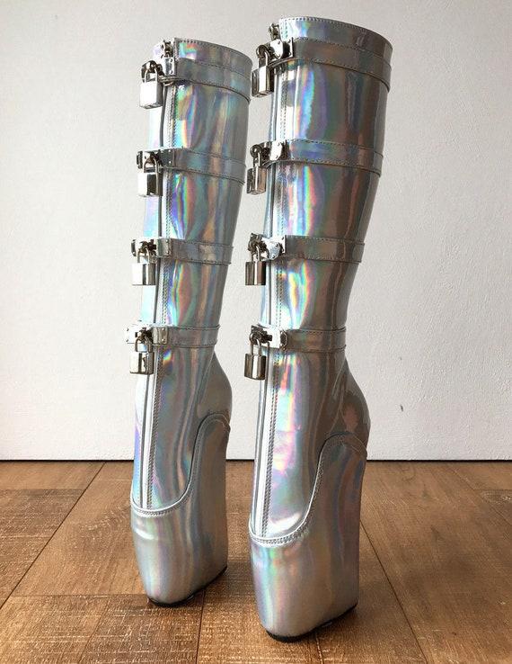 378719f09ff 18cm DIVA Lockable Beginner Ballet Wedge Boots Hoof Heelless Fetish  Holographic