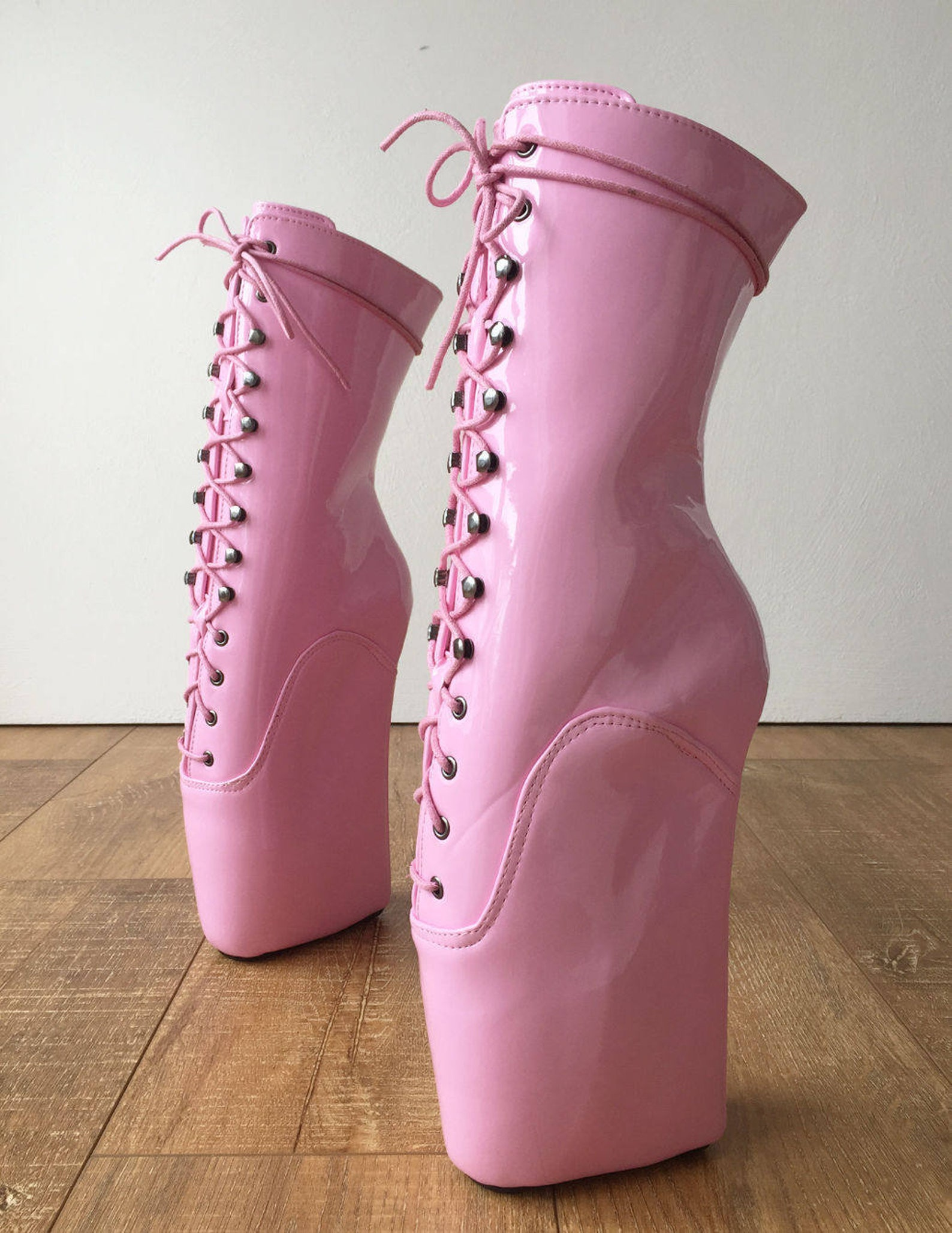 18cm beginner ballet wedge hoof sole heelless fetish pointe baby pink boots