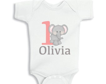 1 Year Old Birthday Girl With Cute Elephant Bodysuit Or Infant T Shirt