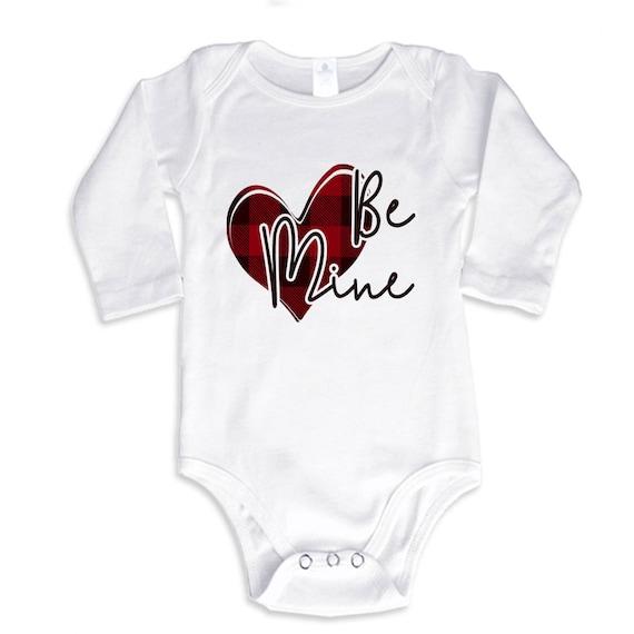 Mon papa est mon Valentine personnalisé manches longues bébé gilets bodysuits Unisexe