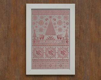 Scandinavian Christmas Sampler - Instant Download PDF Cross Stitch Embroidery Pattern