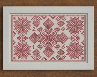 Stars of the North, Swedish Cushion Pattern - Cross Stitch Chart - Instant Download PDF