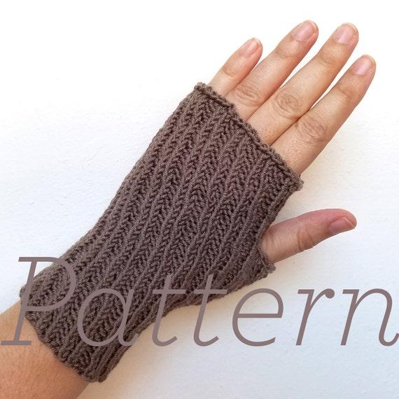 Knit Fingerless Gloves Pattern Oblique Mitts Pattern Only Etsy