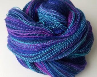 Handspun Yarn   Hand Dyed Shropshire Wool   DK   2-ply   Night Bloom