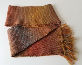 Desert Sunset   Handknit Linen Stitch Scarf   5.5 in x 75 in + fringe   ONE OF A KIND
