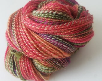 Handspun Yarn   Hand Dyed Hill Radnor Wool   Worsted   2-ply   Rose Garden