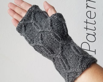 Knit Fingerless Gloves Pattern // Entwined – Pattern Only – PDF Download