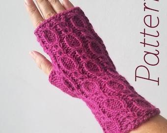Knit Fingerless Gloves Pattern // Figure Eights – Pattern Only – PDF Download
