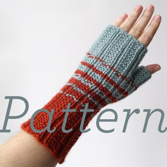 Knit Fingerless Gloves Pattern Two Color Fingerless Gloves Etsy