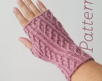 Knit Fingerless Gloves Pattern // Plume – Pattern Only – PDF Download