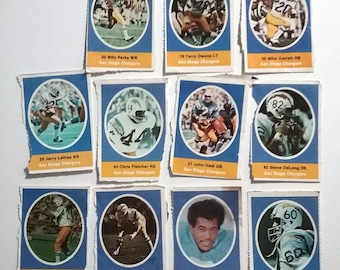 San Diego Chargers 1972 Sunoco Football Stamp Lot 11 Different Hadl vintage 70s collectibles