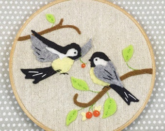 Chickadees Applique and Embroidery Kit, Felt Chickadee, Bird Embroidery Kit, Beginner Embroidery Kit, Chickadees Hoop Kit, Heidi Boyd