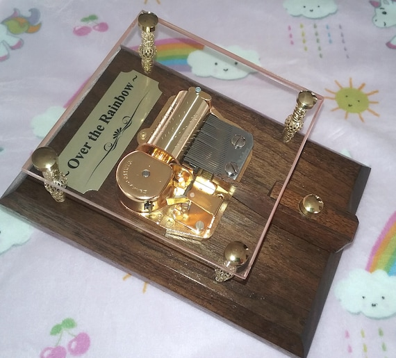 - 30 Note Sankyo Orpheus Music Box - Gift for Baby Over the Rainbow - Can be Personalized - Gold Tibetan Beads - Nursery Decor