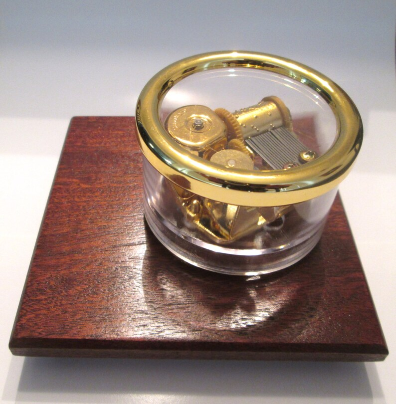Clair De Lune Carousel Music Box or Song of Your Choice - Rotates Around  African Mahogany Base - Gold Disk Start/Stop Switch - Master +
