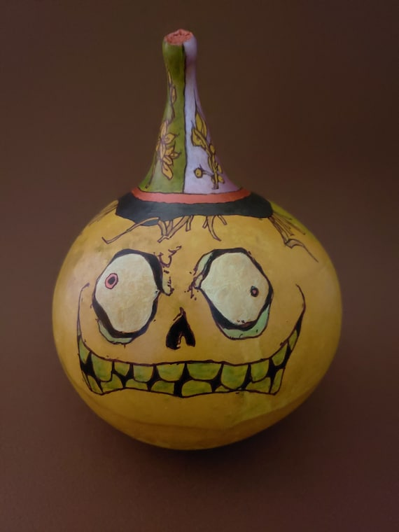 Hand Painted Kettle Gourd Pumpkin Head With Creepy Eyes And Etsy