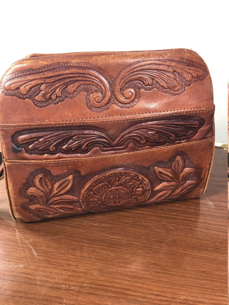 Hand tooled leather bag image 0
