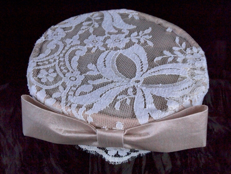 Lace wedding hat champagne satin and white lace pillbox image 0