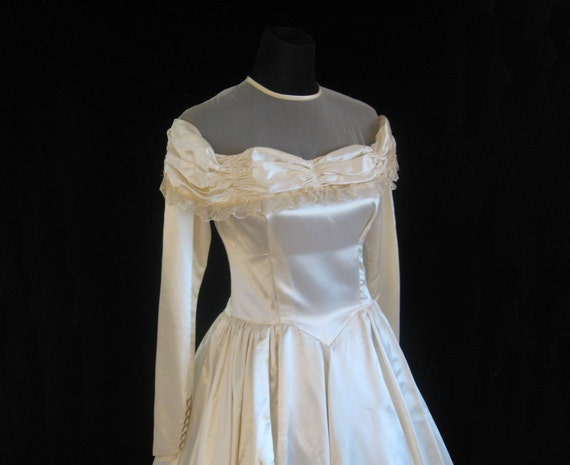 1940s Wedding Gown. S - image 1