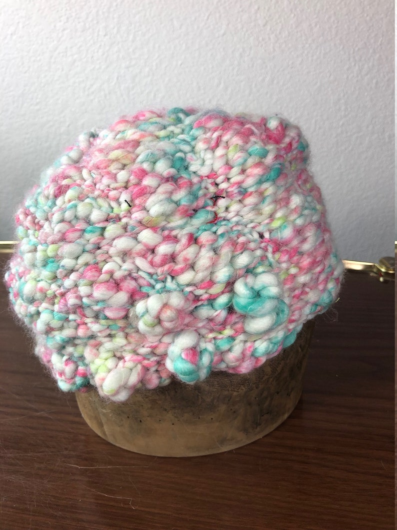 Bumpy bubbly whimsical crocheted hat image 0