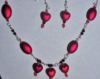 Valentine Heart Necklace and Earring Set