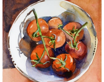 Kitchen Art, Summer Tomatoes in Bowl - print from an original watercolor sketch