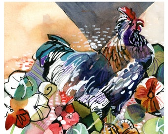 Rooster and Nasturtium - print from an original watercolor and pen and ink sketch