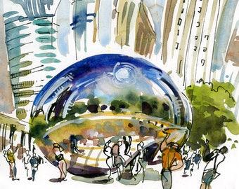 Chicago, The Bean aka Cloud Gate, print of a watercolor sketch, fine art print