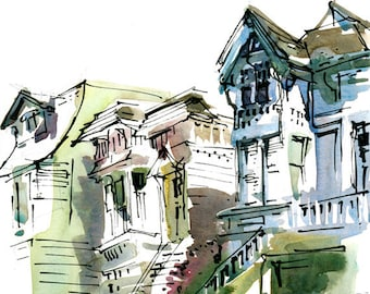San Francisco Painted Ladies, print of a watercolor sketch, fine art print