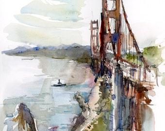 San Francisco Golden Gate Bridge, California : print of a watercolor sketch