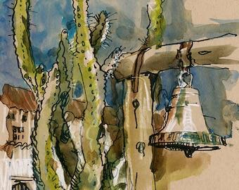 California Mission and Cactus San Juan Bautista : fine art print from an original watercolor sketch, vertical print