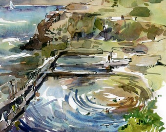 San Francisco Sutro Baths at Lands End, print of a watercolor sketch, fine art print